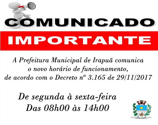 NOVO HORÁRIO DE FUNCIONAMENTO DA PREFEITURA MUNICIPAL DE IRAPUÃ