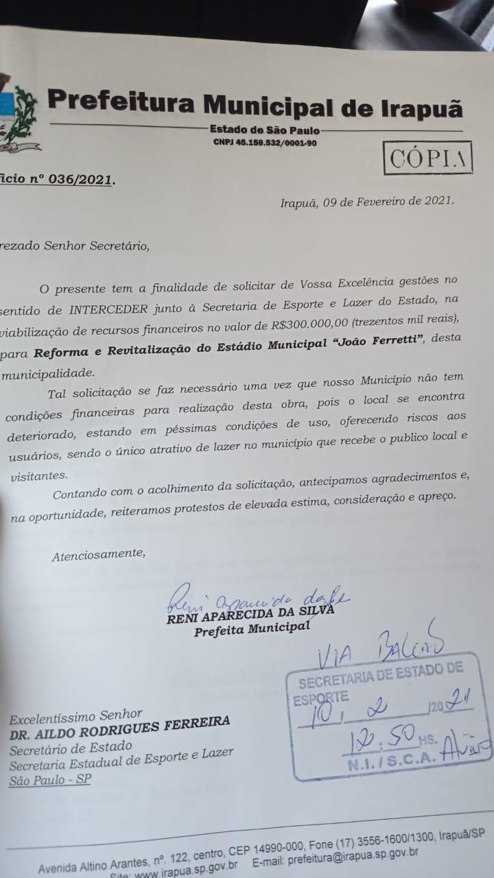 IRAPUÃ BUSCA RECURSOS DE INCENTIVO AO ESPORTE