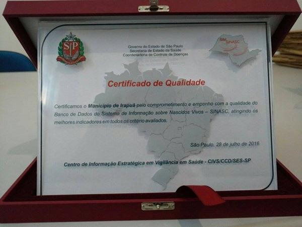"""Irapuã participa da """"Premiação Estadual do SIM e SINASC"""