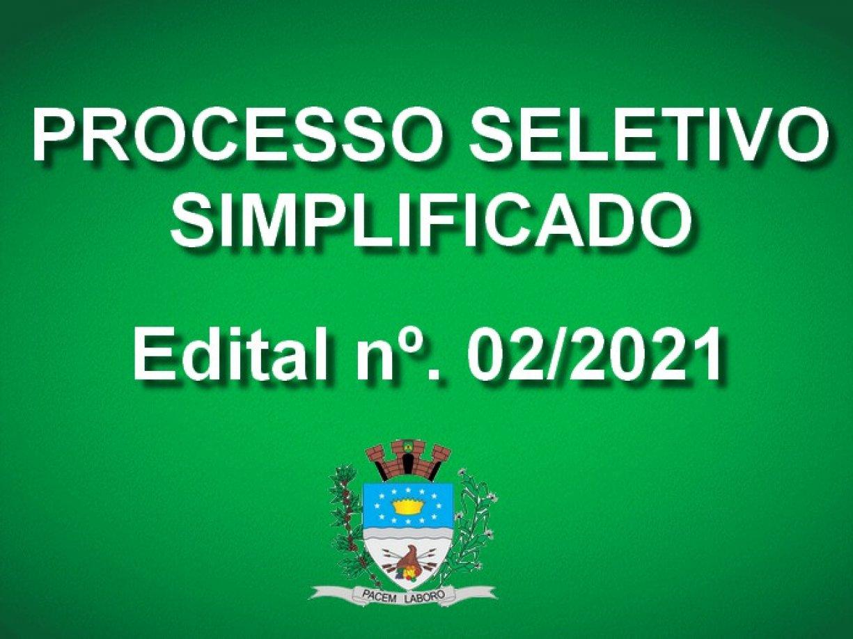 PROCESSO SELETIVO SIMPLIFICADO Nº 02/2021.